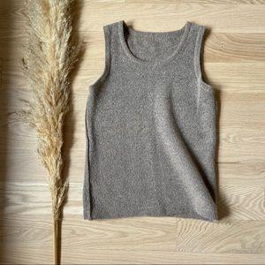 Textured Neutral Sweater Knit Tank   Tan Beige   S